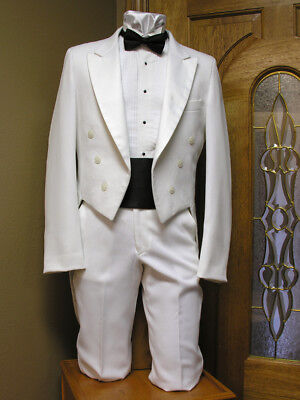 White Tail Coat Vintage formal Steampunk Cosplay theater dance tailcoat Mardi