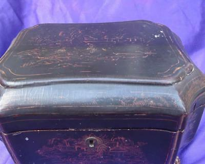 Antique 19th Century Chinese Lacquer Footed Jewelry Box Loss of Paint on Lid