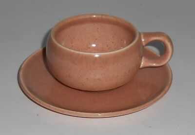 Russel Wright Pottery American Modern Coral Demitasse Cup & Saucer