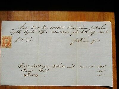 1865 Whale Oil,prices,New York signed document,STAMP