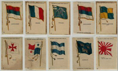 Lot of 10 Old Flag Tobacco Silks - Nice Condition