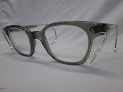 American Optical AO Vintage Safety Glasses NOS Gray Clear Glass Cable Temples
