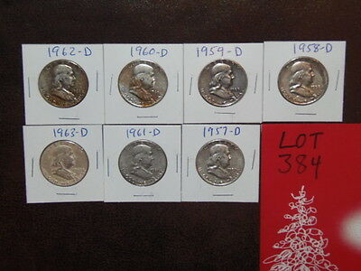 7- FRANKLIN Half Dollars -1957D THUR 1963D, ONE EACH, CHOICE OF 12 LOTS. (B-33)