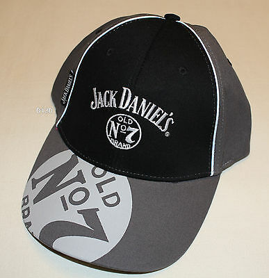 Jack Daniels Old No 7 Logo Mens Grey Black Embroidered Cap One Size New