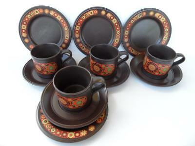 Vintage 12 Pce Retro Tea Set Kiln Craft Hermes Orange Flower Power Trios England