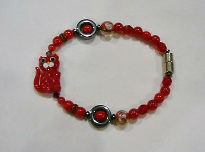 "A Cute Red Glass Bead & Magnet Bracelet With Red Cat Bead. It Is 7 3/4"" Long."