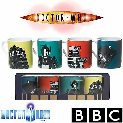 BBC DOCTOR WHO® Dr Who Official Ceramic Coffee Tea Cup Mugs Gift Set Pack of 4