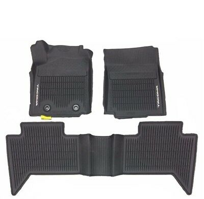 Toyota Tacoma Double Cab Auto Trans Black Rubber All Weather Floor Mats Genuine