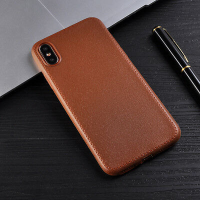 For iPhone XS Max X 8 7 6s Luxury Ultra Slim Leather Grain Soft TPU Case Cover