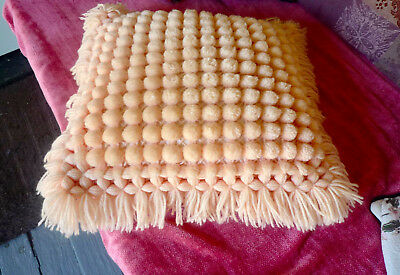 SALE - Vintage pink bobbly cushion cover acrylic retro great condition 1970s