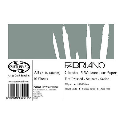A5 Curtisward Fabriano Classico Artists Hot Pressed Watercolour Paper Pad.