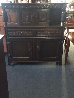Reproduction Oak Court Cupboard With 2 Drawers & 4 Cupboards