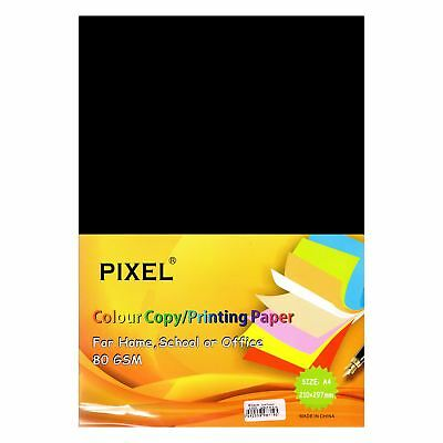 Pixel® A4 Black Paper for Home, School, Arts & Crafts (80GSM - 100 Sheets)