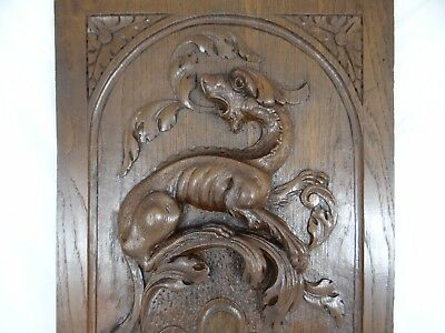 French Antique Carved Oak Wood Archtectural Door Panel/Gothic Chimera Griffin