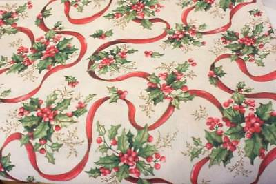 Christmas Tablecloth Ivory Pink Holly Berries Ribbon Shabby Cottage Chic