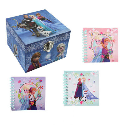 Disney Frozen Anna & Elsa Themed Musical Jewellery Box + Set Of 3 Notebooks