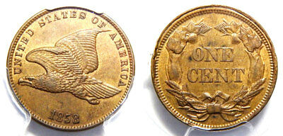 1858 1C Flying Eagle - PCGS MS 62 Small Letters//