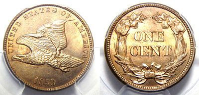 1858 1C Flying Eagle - PCGS MS 65 Small Letters//