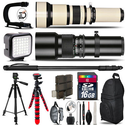 500mm-1300mm Telephoto Lens for D3300 D3400 - Video Kit +  Flash - 16GB Bundle