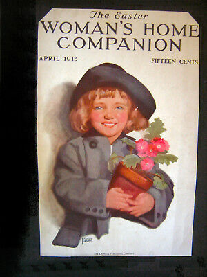 1913 Full page ADS (Art on each side)=GIRL-FLOWER POT=CREAM of WHEAT=FRONT COVER