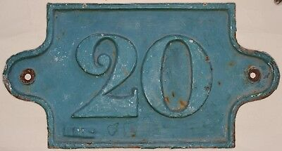 Large heavy C19 French house number 20 door plate plaque cast iron metal sign