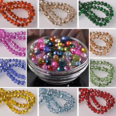 6X4mm Half Plated Charms Rondelle Faceted Crystal Glass Loose Spacer Beads Lot