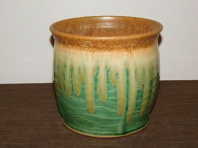 """Handcrafted Pottery 8"""" High 8 1/2"""" Across 2007 Ceramic Plant Pot Planter"""