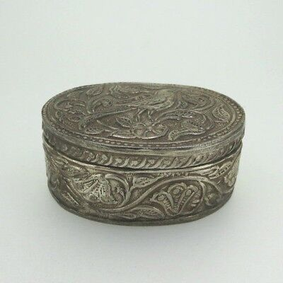 Vintage Sterling Silver Repousse Bird & Vines Pattern Oval Trinket Box Unsigned
