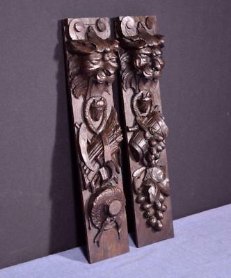 """*Antique Pair of 16"""" French Solid Oak Wood Carvings Brackets with Lions Trim"""