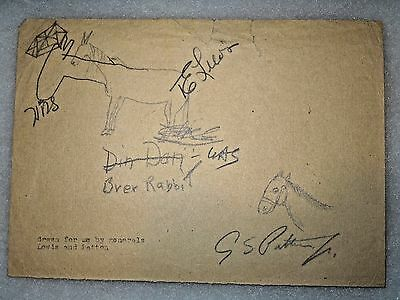 ORIGINAL WWII General George S. Patton & Gen. T.E. Lewis Signature Autograph Art