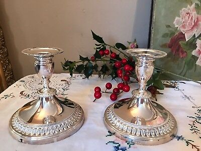 Pair of 2 Vintage Candlesticks Silver Plated Viners Candle Holders Christmas