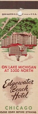 Vintage Hotel Matchbook Cover. Edgewater Beach Hotel. Chicago, Il.