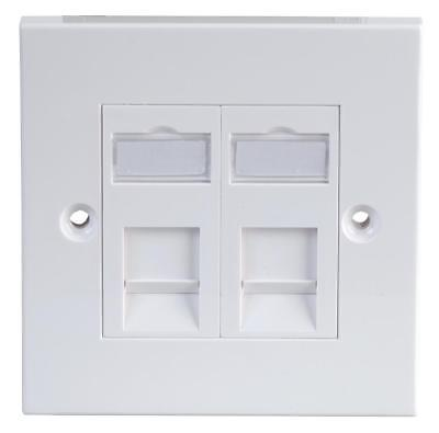 1-Gang Twin RJ45 Cat5e Socket Faceplate, White