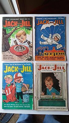 Vintage Jack and Jill Magazines Lot of 4 1958-1962 Cutouts Puzzles Games Stories