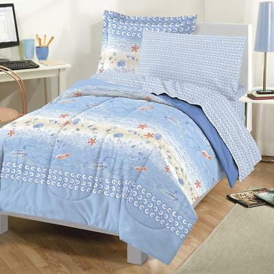 dolphins tropical nautical comforter set 4 bed in a bag cad 109 91