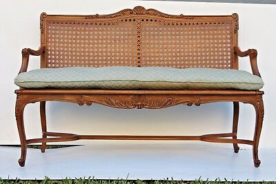 EARLY 19thc LOUIS XV style STUNNING CANED SETTEE- CARVED OAK