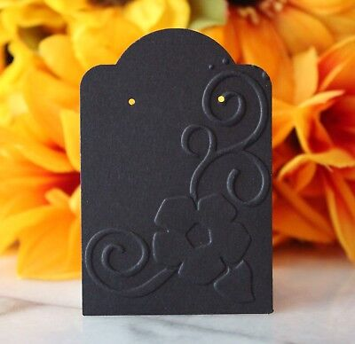 25 Black Floral Earring Cards, Jewelry Cards, Craft Show or Retail Display Cards