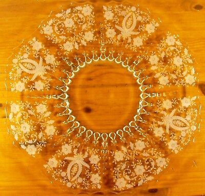 Antique Flat Serving Platter, Clear Glass Extraordinary Pattern