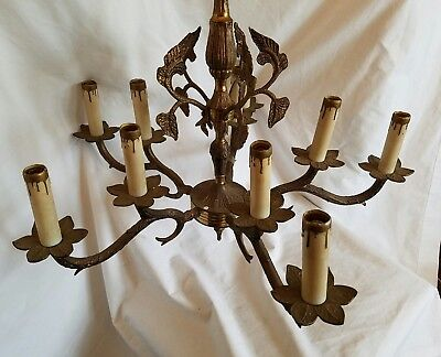 vintage Antique Spanish Beautiful Brass Chandelier 10 Light 5 Arm Crystal Spain