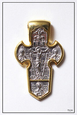 Russian Orthodox Silver Gold Cross Pendant Jc Archangel  Michael