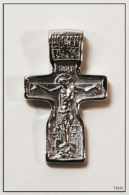 RUSSIAN ORTHODOX SILVER  CROSS PENDANT MEDALLON ICON JESUS CHRIST (TS131)ca