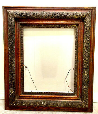 """Antique Large Solid Carved Wood Oak 19thC Picture Frame Ornate Victorian 32""""x27"""""""