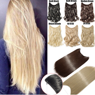 """20"""" Halo Ombre Hidden Secret Invisible Wire Hair Extensions Flip On In Hair"""