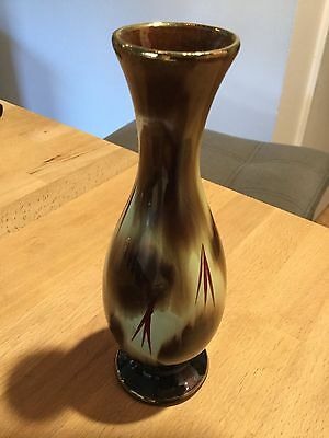 "WEST GERMANY Marked Brown Mid-Century BUD VASE 7.25"" Tall"