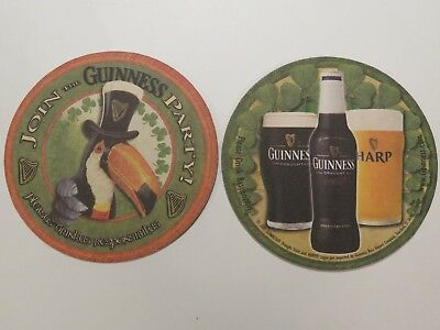 Beer Coaster ~  2001 GUINNESS Brewing Stout ~ Toucan Bird & Hat ~ Join the Party