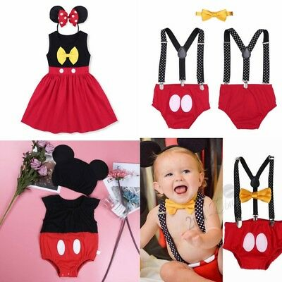 Mickey Mouse Baby Girl Boy Minnie Dress Romper Birthday Outfits Bodysuit Costume