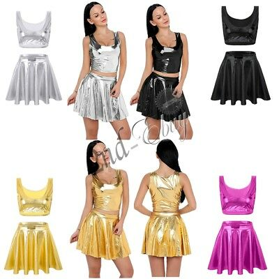 Sexy Women Wet Look Patent Leather Shiny Crop Tank Top Pleated Skirt Fancy Dress