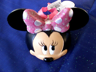Disney * MINNIE MOUSE * New - EAR HAT - Glittered Resin Holiday Ornament