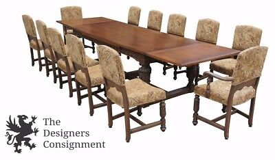Antique Elizabethan Spanish High Relief Oak Draw Leaf Dining Table Set 12 Chairs