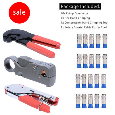 F-Style Compression Hex Hand Crimping Tool Rotary Coaxial Cable Cutter Crimper